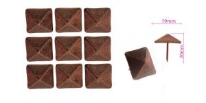 Polstrinaelad, dekoratiivnaelad, kübar 19 mm, pinnakate: vana vask, 10tk, KL0341, PB28