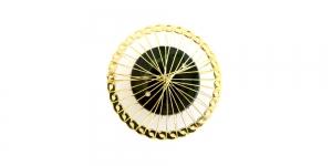 Kuldne ja must, Golden Circular Wire Charm with Black Adornment, 40mm, EG58