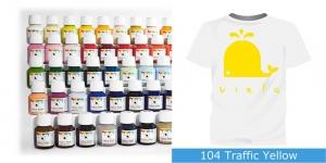 Värvid kanga värvimiseks pintsli, tampooni jms abil Vielo Fabric Paint, 50 ml, Värv: kollane, #104 Traffic Yellow