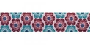 Trükitud mustriga kummipael 30mm / Elastic Band / Värv 551-L Rohelised, tumepunased lilled, valgel taustal