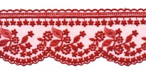 Õrn tüllile tikitud servapits WT-30693 laiusega 8,5 cm, värv punane