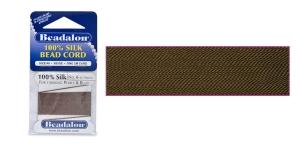 100% siidist niit, Nr.6; ø0,70 mm, 2 m, värv: pruun, Beadalon 106R-100