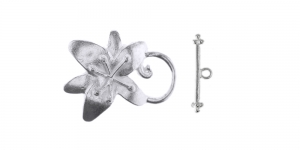 Silver Toggle Clasp with Flower Design / 25 x 30mm / EJ80