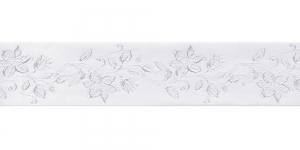 Jacquard satin ribbon, Art.38968, color No.White