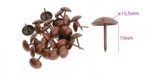 Polstrinaelad, dekoratiivnaelad, kübara ø15,5 mm, pinnakate: vana vask, 25 tk, KL0317, PB13