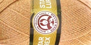 Metallikniidiga akrüüllõng Star Lurex, Madame Tricote, värv nr. 099A, beež kuldse metallikniidiga