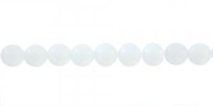 LN437 Ümar klaaspärl, Tšehhi, 10mm, Valge piimjas