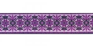 Trükitud mustriga kummipael 30mm / Elastic Band / Värv 627-K Roosakaslilla ornament, valgel taustal