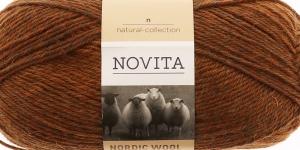 Täisvillane lõng Nordic Wool Flow, Novita, Värv 42, pruunikas-oranžikas-hallikas