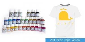 Pärlmuttervärv kanga värvimiseks, Fabric Paint Pearl, 50 ml, Vielo, Värv: mahe kollane, #201 Pearl rape yellow