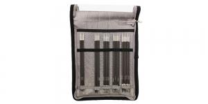 Süsinikkiust lühikeste 15cm sukavarraste (nn sõrmikuvarraste) komplekt KnitPro Karbonz 41614