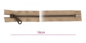 1841ОХ, Closed end Metal Zippers, zip fasteners, 18cm, color: dark beige, member width: 6mm antique brass