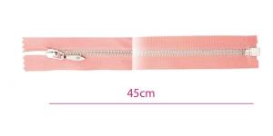 1324NI, Alt avatav 4mm hammastikuga metall-tõmblukk pikkusega 45cm, vanaroosa, nikeldatud hammastikuga