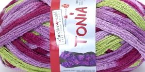 Krookiv lõng kreatiivseks kasutamiseks Tonia; Värv 0115 (Tonia Roosakaslilla, helelilla, heleroheline), Schoeller+Stahl