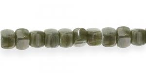 LK79 8mm Rohekashall rohekate triipudega piimjas läbipaistmatu kandiline klaashelmes