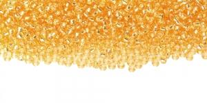 Terahelmed, seemnehelmed, Nr.11 (2-2.2 mm), Preciosa Kuldkollased, läbipaistvad hõbedase, läikiva auguga, HG105