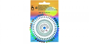 Kristallpea-nööpnõelad; 40tk, 38 x ø0,60mm, Pony, 28601