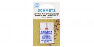 Twin Embroidery Needle for Home Sewing Machines, Schmetz (Germany) 3,0 mm, No.75