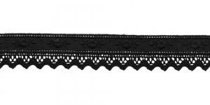 Luksuslik tikitud broderiipits koos kootud pitsiga laiusega 28mm T122-14, Värv: Must