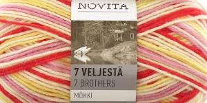 Пряжа для вязания носков 7 Veljestä Mökki, Novita, цвет 824