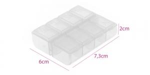 Väike plastmassist (PP) läbikumav säilituskarp, 7,5 x 6 x 2 cm, KL1725