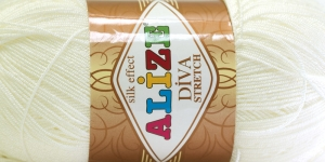 Diva Silk Effect Strech Yarn; 62 (Natural White), Alize
