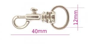 Karabiinhaak 40 mm, hole 12 mm, VMP MS87/TA-N, pinnatud: läikiv nikkel, SHx8
