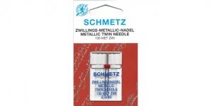 Twin Metallic thread Needle for Home Sewing Machines, Schmetz.2,5 mm / No.80