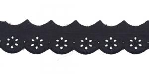 Luksuslik tikitud broderiipits laiusega 35mm I591-14, Värv: Must