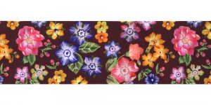 Lilleline tumepruunill taustal ripspael laiusega 48 mm Art.P1749 Värv 44
