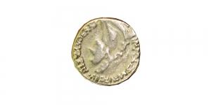 SF17 Metallist kuldne vanaaegset münti meenutav nööp 18mm