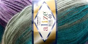 Mohäärlõng Alize Angora Real 40 Batik Design, värv 6987 lillad-rohelised toonid