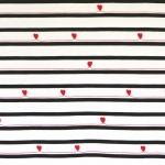 Triibu- ja südamemustriga (Stripe-hearts) veniv puuvillasegu kangas, 145cm, KC1318
