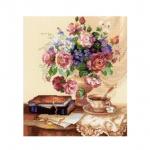 Tikkimiskomplekt teetassi ja lillebuketiga Art.1302 firmalt Riolis