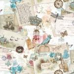 Kirja-postkaardimustriga puuvillane kangas Art. BB/91078-01