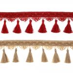 Soliidne kaunistuspael lainelise serva ja tuttidega BPK-019 laiusega 9 cm