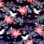 Sookurgede ja idamaiste lilledega, veniv puuvillasegu kangas, 150cm, 12920