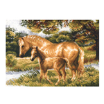 Tikkimiskomplekt Pruunid hobused suvisel maastikul 1258 40x30cm Riolis