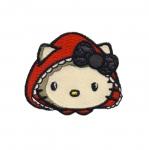 Triigitav Aplikatsioon; Hello Kitty, Little Red, Punamütsike / Embroidered Iron-On Patch; Hello Kitty 5,5x4,7cm