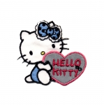 Triigitav Aplikatsioon; Hello Kitty helkursüdamega/ Embroidered Iron-On Patch; Hello Kitty with Heart / 5x4,5cm