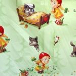 'Punamütsike' puuvillane kangas Disney 'Rosso' 140cm 00561-01