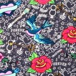 'Together forever' armastuseteemaline tuvide ja roosidega trikookangas 3615