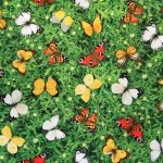 Paksem puuvillane kangas, liblikad murul, 140cm, 91299 - 21