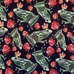 Konnaprints ja roosid, veniv puuvillasegu kangas 150cm, 12200
