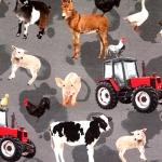 Farmiloomadega (farm animals) veniv puuvillasegu kangas, 155cm, KC7502