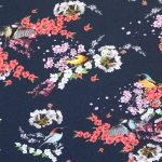 Tihaste ja jäälindudega veniv puuvillasegu kangas, 150cm, 007553