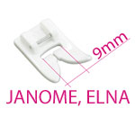 9mm pistelaiusega JANOME õmblusmasinate tallad ja tarvikud / JANOME & ELNA 9mm Stitch Width Sewing Machine Feet & Equipment